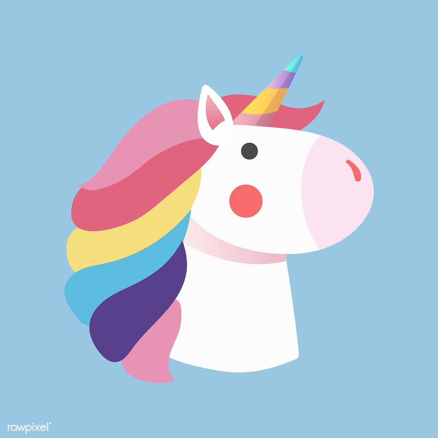 Magical Rainbow Unicorn Sticker Vector Free Image By Rawpixel Com