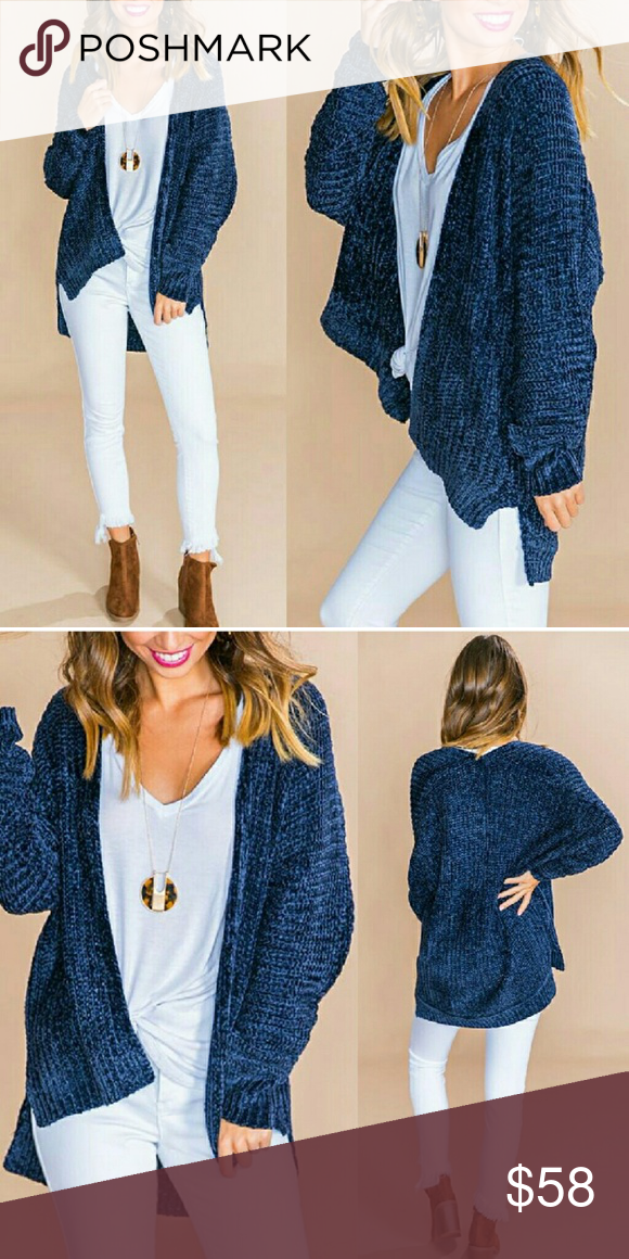 686c1c099 Softest Chenille Cardigan - NAVY BLUE Oversized long sleeve cardigan ...