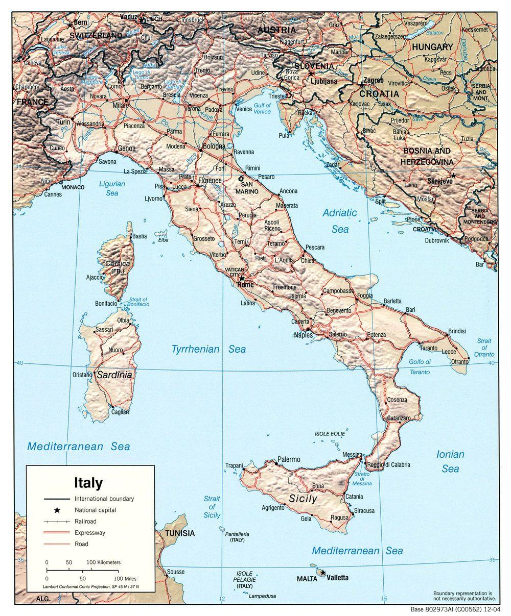 Carte du relief de l'Italie | Italie ief | Pinterest