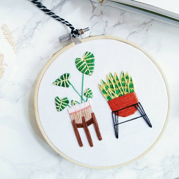 Philodendron & Sansevieria Plant Hand Embroidered Hoop Art   Embroidery, Cactus Decor, Wall Hanging, Indoor Plant, Embroidery Wall Art is part of Cactus decor Hanging -  patch that we don't have in our shop  We love to do commission pieces & custom orders so feel free to DM us with an idea of what you'd like (no matter how crazy, we're all crazy here) and we can go from there!