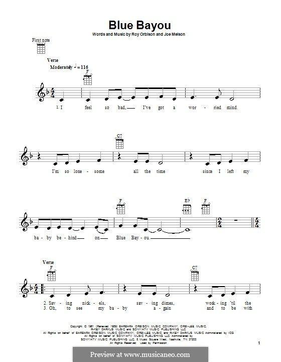 Blue Bayou (Linda Ronstadt): For ukulele by Joe Melson | Ukulel mike ...