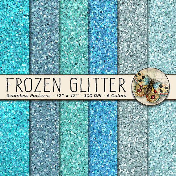 frozen digital glitter paper 6 sparkly glitter paper pack in cool