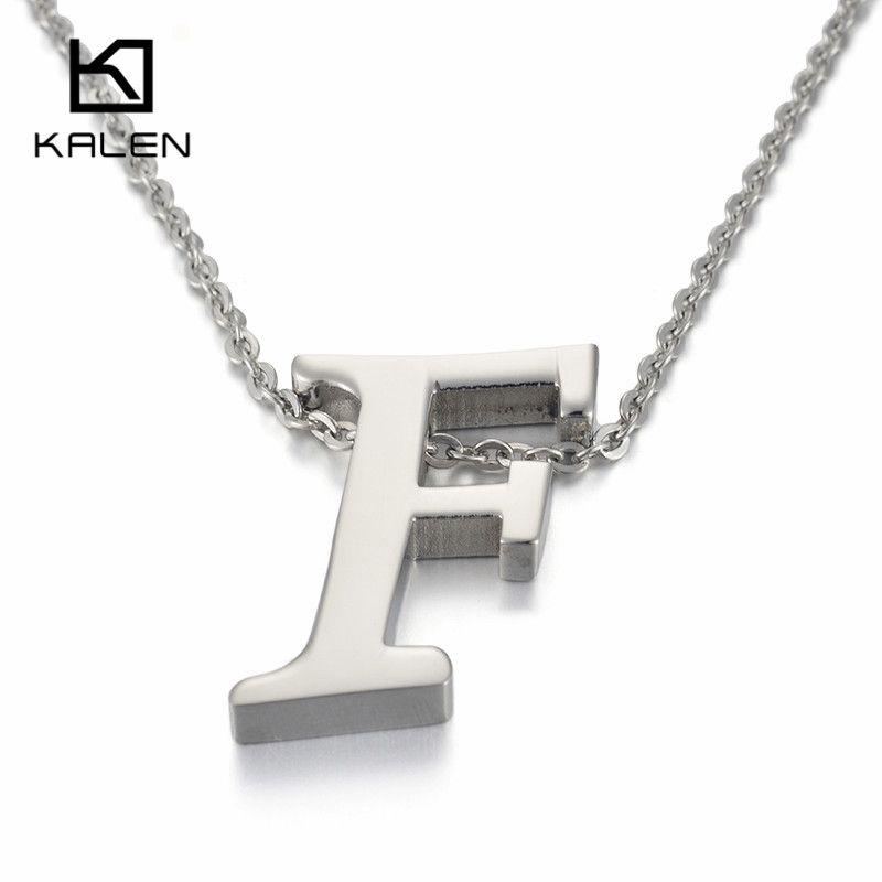 Kalen Capital Letter F Pattern Pendant Necklaces Women Men