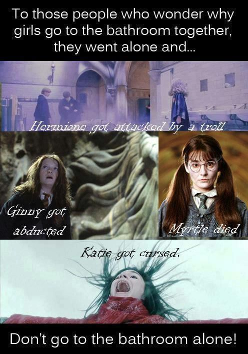 And This Is Why Girls Don T Go To The Bathroom Alone Harry Potter Jokes Harry Potter Puns Harry Potter Funny