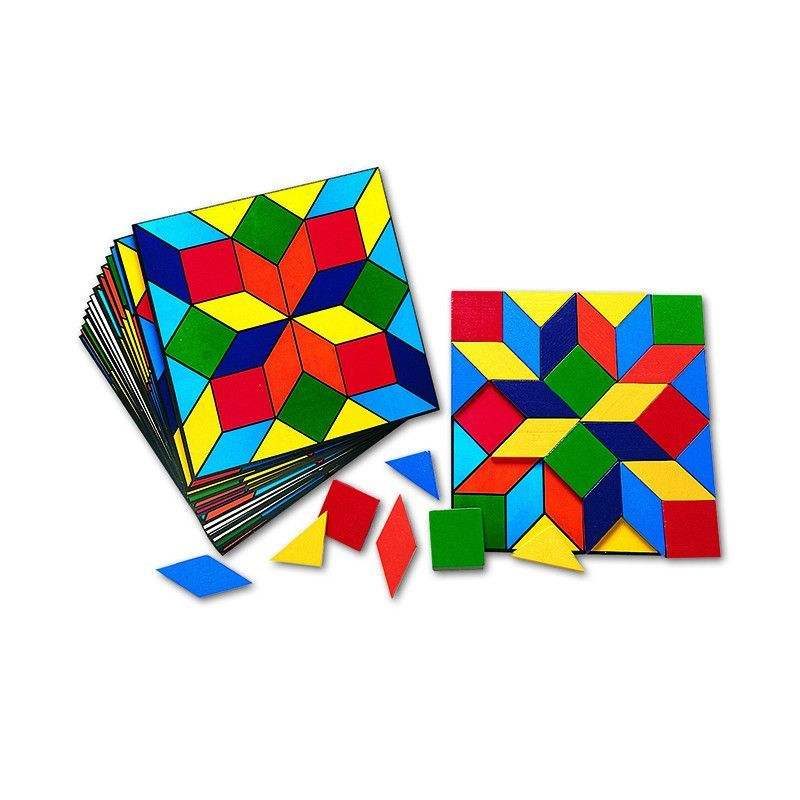 Parquetry Block Set 20 Cards 32 Pcs Card Patterns Learning