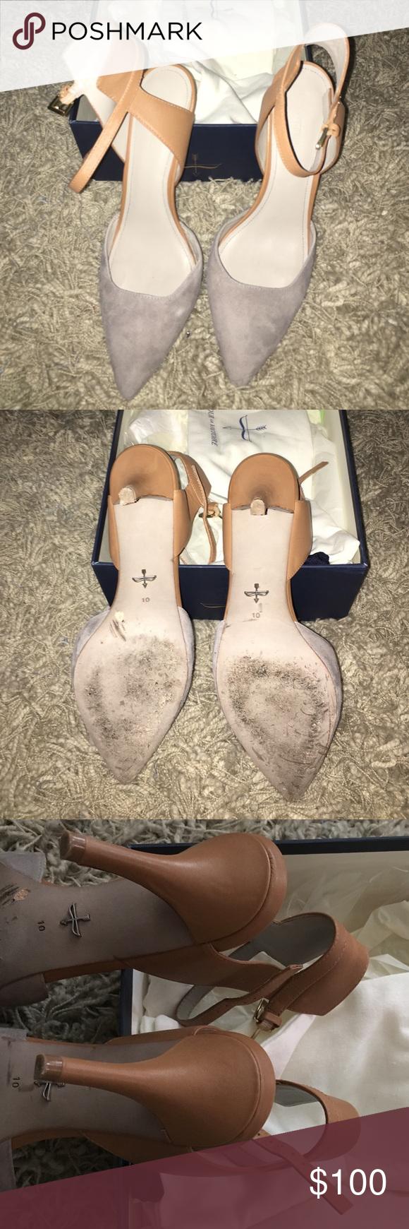 Pour la Victoire Heels Pre-owned worn once Style: Gia, Color: Ash/Honey, Material: Kid suede /Polished calf Size:  10M Pour la Victoire Shoes Heels