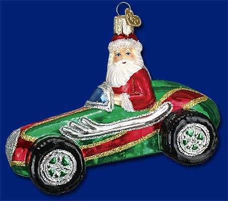 Race Car Santa, Glass Ornaments form Merck\u0027s Old World Christmas