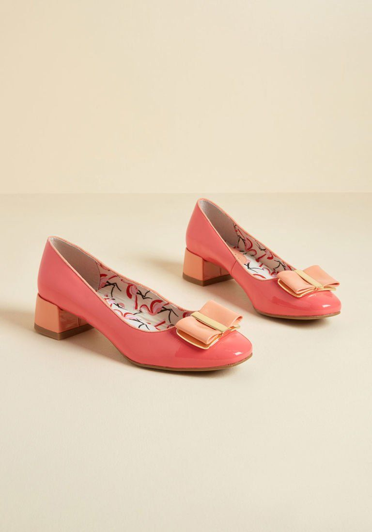 2eba1569ac Ruby Shoo Tried and Altruistic Block Heel in Coral Gloss in 36 - Flat - 0-1  by Ruby Shoo from ModCloth