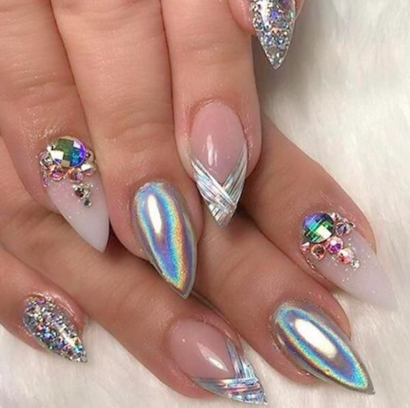 ❤ WOW these are pretty. Holographic nail art idea #nails #nailart ...