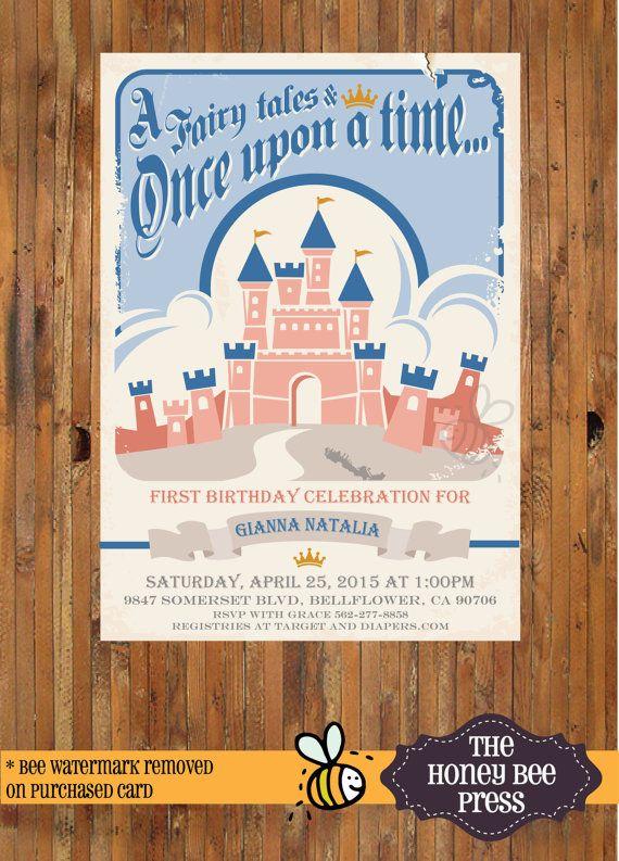 Retro Disney Birthday Invitation Castle Birthday Invitation