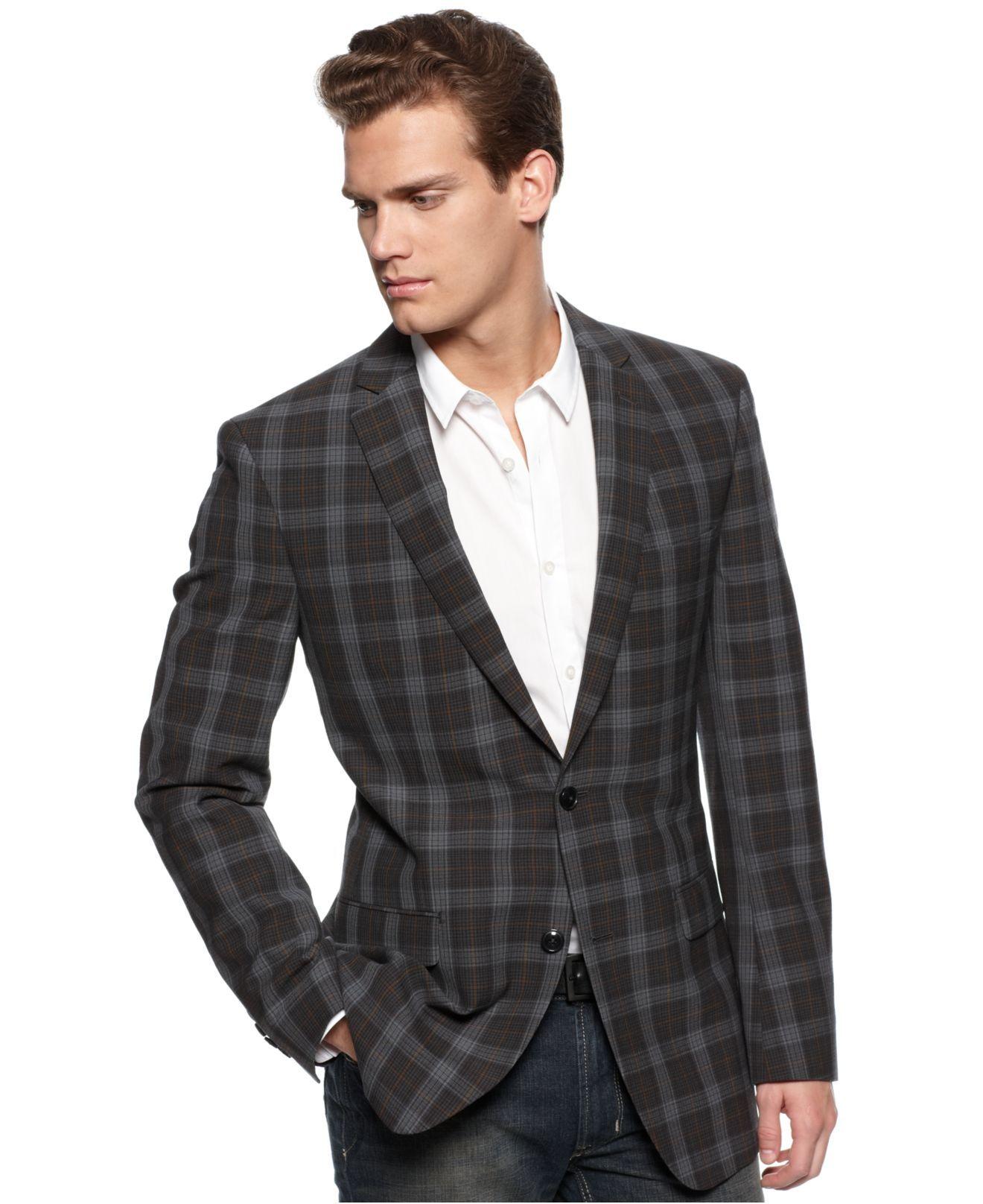 DKNY Jacket, Grey Plaid Seersucker Slim Fit Blazer Mens