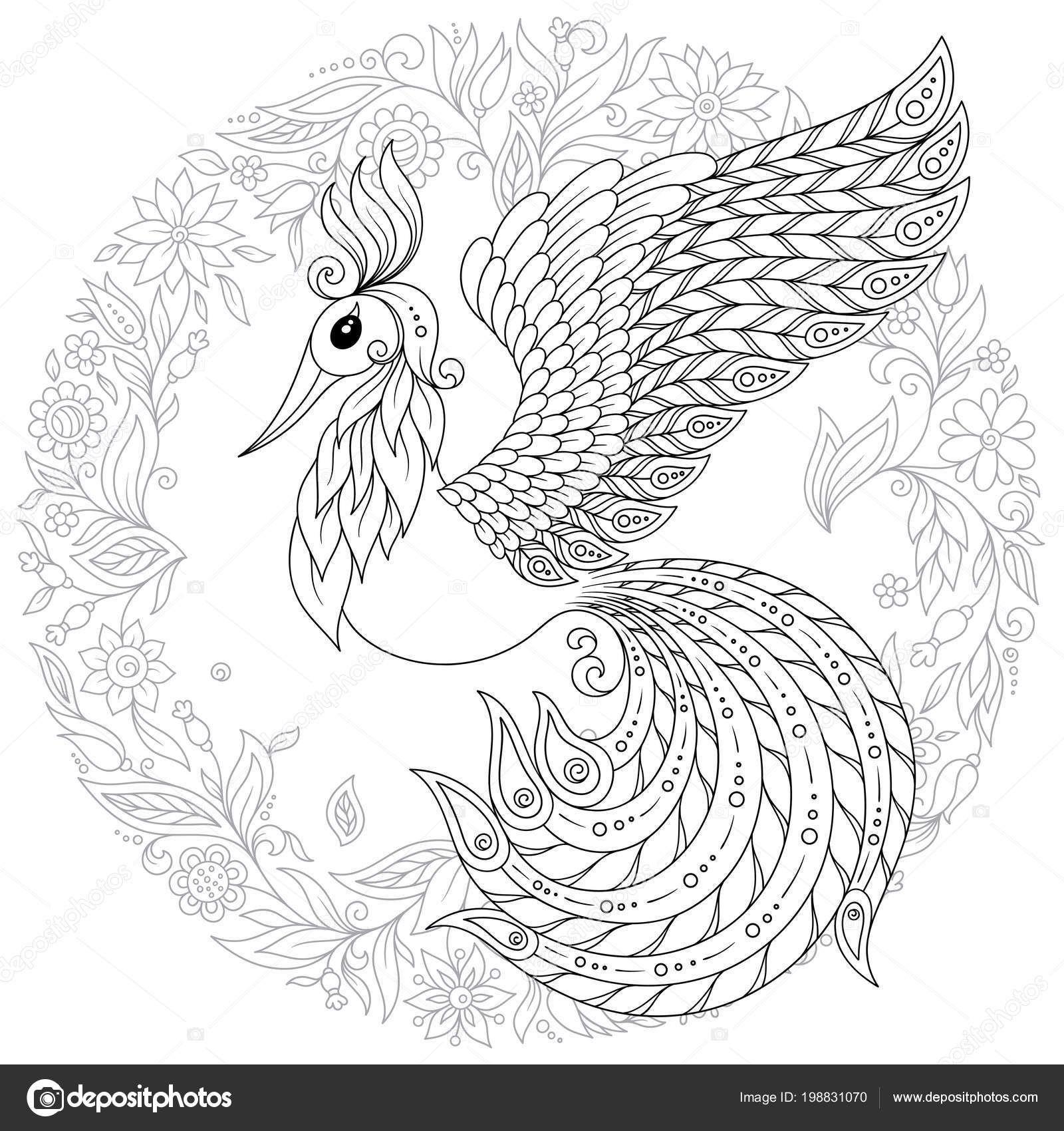 Schattig Zangvogels Fantasie Bloementuin Dieren Hand Getrokken Doodle Etnische Patronen Kleurplaten Voor Volwassenen Dieren Kleurplaten Patroon Illustratie