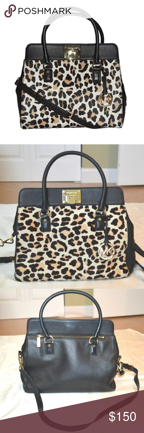 0342f2717c5c Michael Kors Astrid Leopard Print Calf Hair Tote Brand  Michael Kors Style  Astrid  Black Leather   Leopard Print Calf Hair Tote Color  Black
