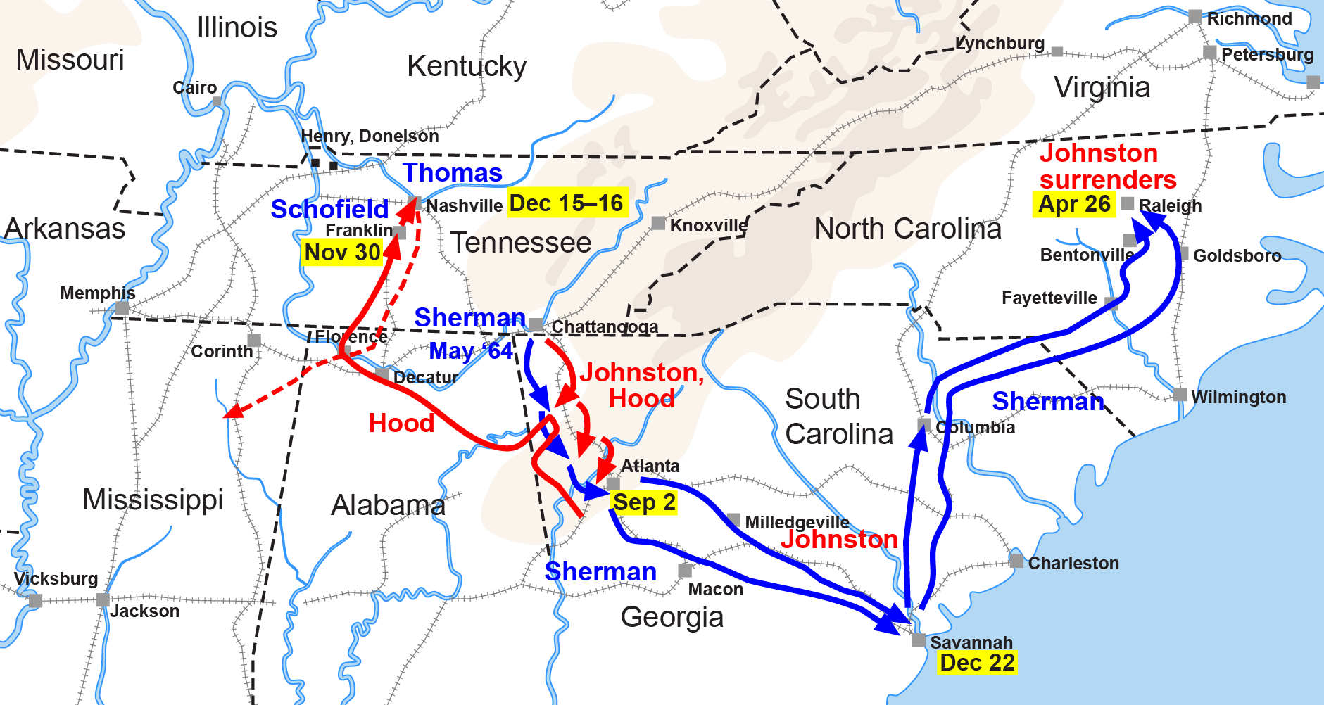 Sherman's March to Sea began in Atlanta in November 1864 and ... on atlanta campaign map, george b. mcclellan, confederate states of america, bleeding kansas map, pickett's charge map, battle of fredericksburg map, battle of antietam map, james longstreet, gettysburg campaign map, american civil war, battle of perryville map, battle of nashville map, battle of atlanta map, jefferson davis, vicksburg campaign map, anaconda plan map, battle of shiloh, battle of fort sumter, fort sumter map, philip sheridan, appomattox court house map, battle of resaca map, george meade, battle of gettysburg, ambrose burnside, george armstrong custer, morgan's raid map, battle of vicksburg, ulysses s. grant, battle of antietam, stonewall jackson, robert e. lee, second battle of bull run map, chattanooga campaign map, battle of olustee map, american civil war map, first battle of bull run, george pickett,
