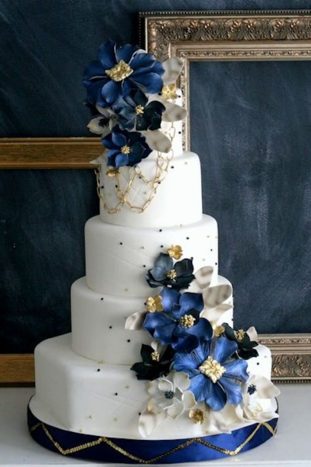 Royal Blue Gold And White Wedding Cake Decorative Wedding Cake