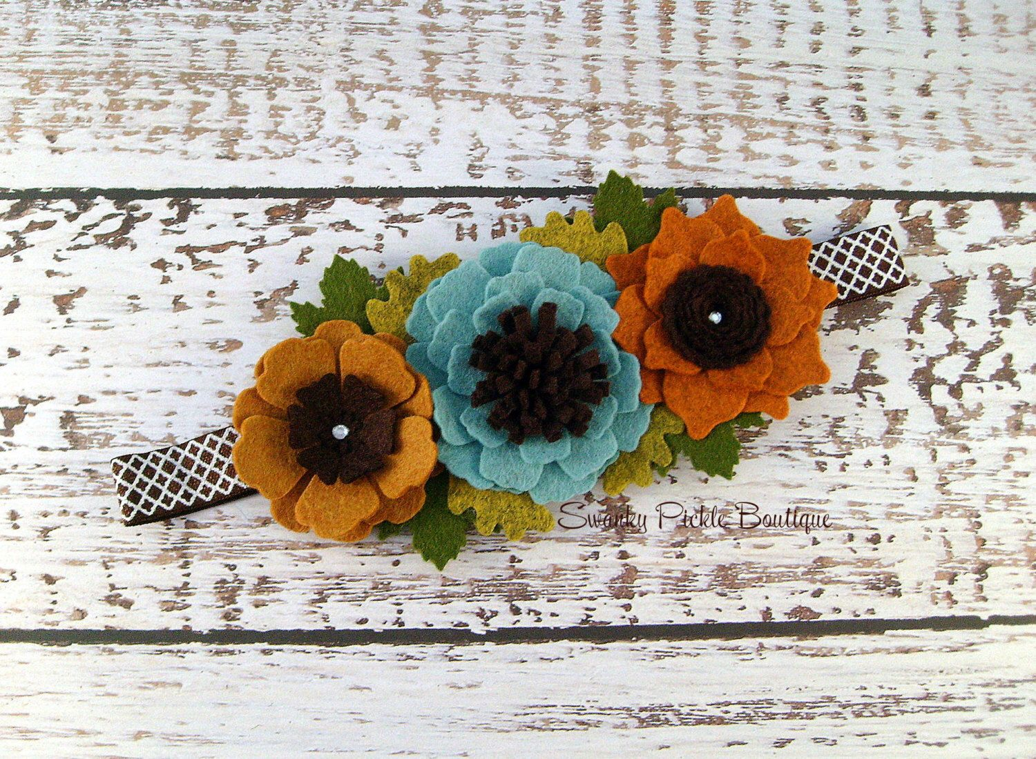 Fall Flower Headband - Wool Felt Flower Headband - Autumn Headband…