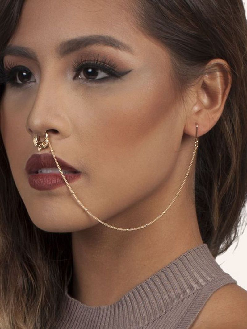 91fab6fc8bf $2.04 - Shop Body Jewelry Nose Earring Chain Set Crystal Nose Ring Fake  Piercing Clip On #ebay #Fashion