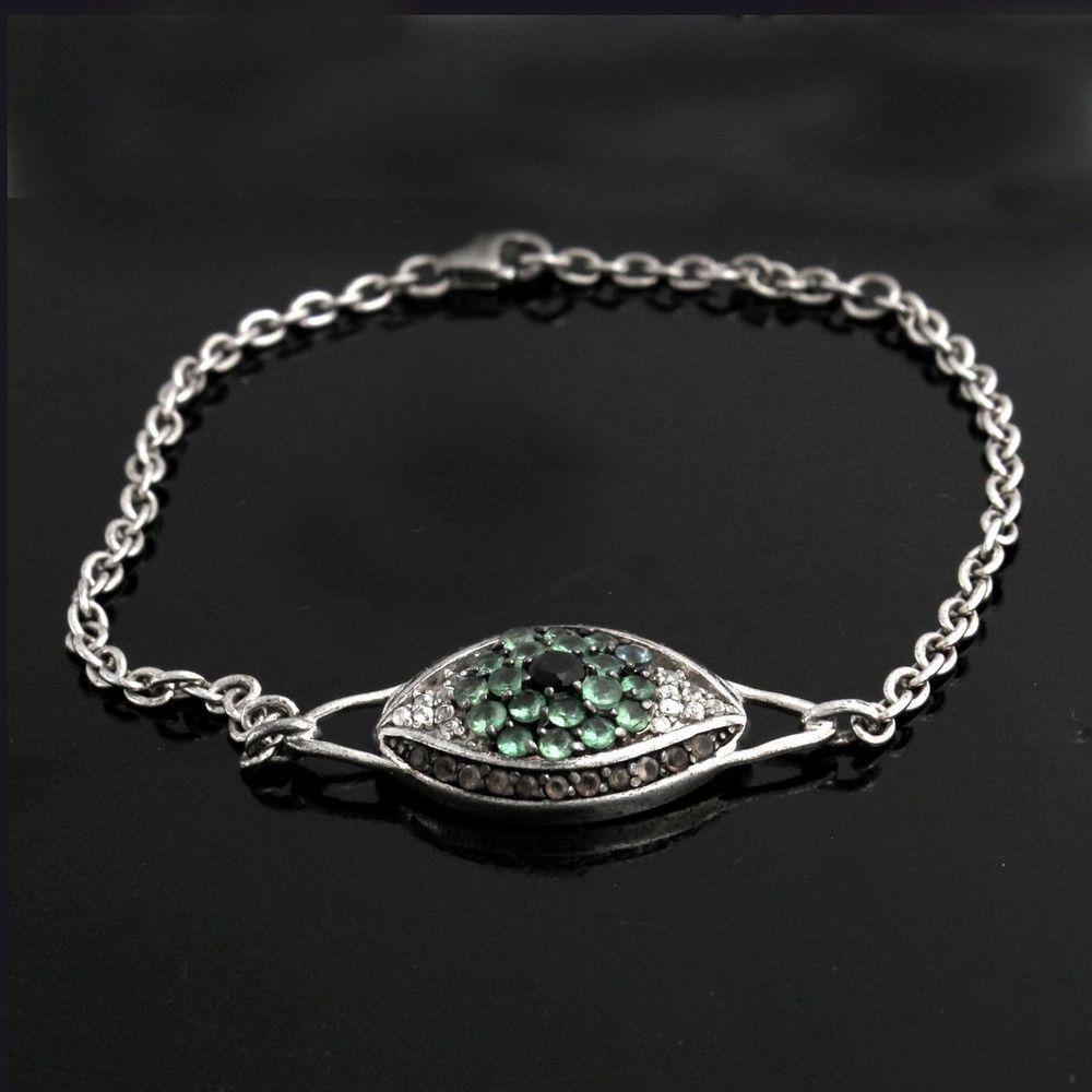 """Rarities:Fine Jewelry with Carol Brodie Gemstone """"Evil Eye"""" 7-1/2"""" Bracelet E035 #RaritiesFineJewelry #EvilEye"""