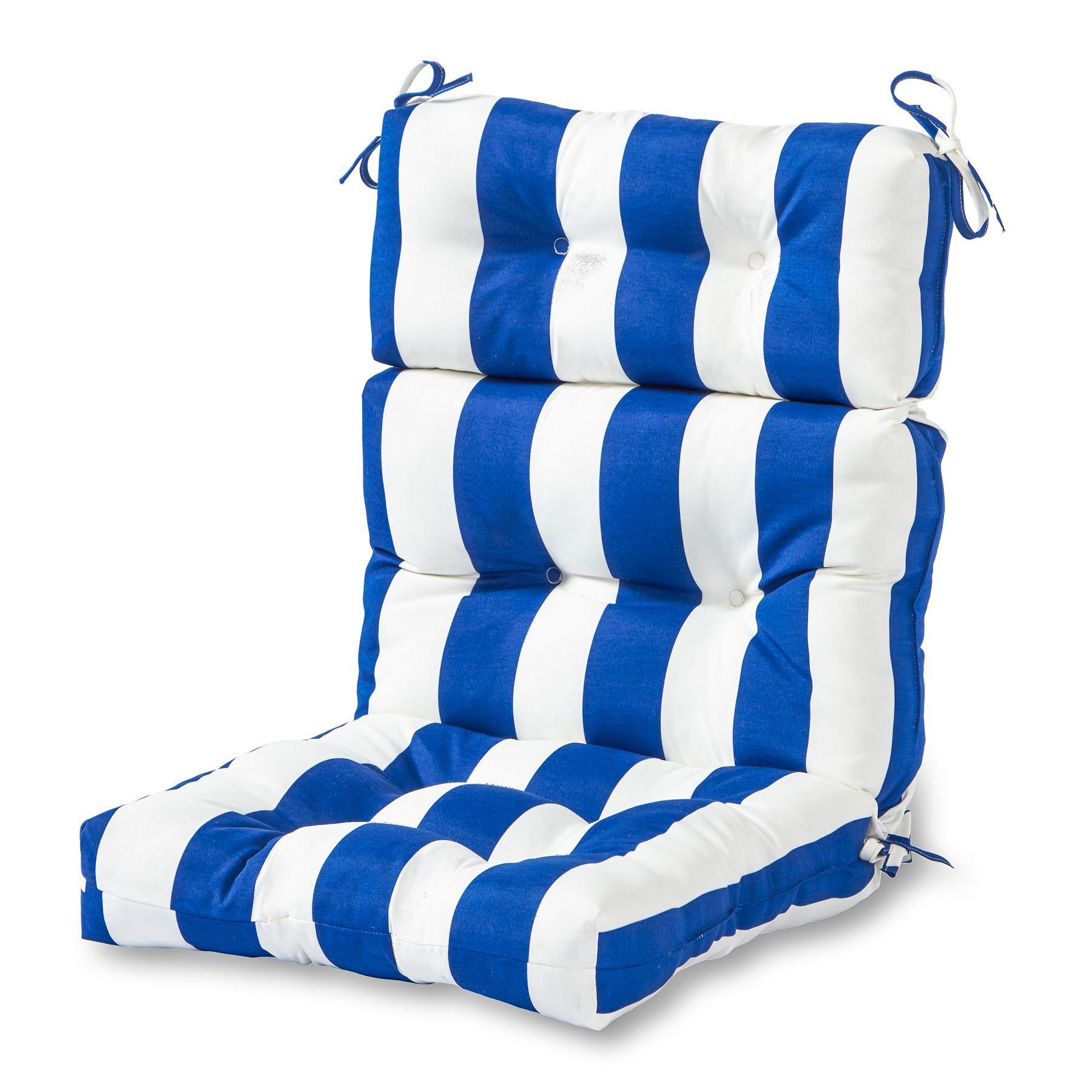 Polyester Cabana Striped High Back Chair Cushion (Cabana Blue), Outdoor  Cushion