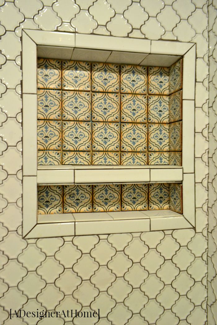 Moroccan Inspired Mosaic Tile Patterned Tile Shower Ledge Shelf