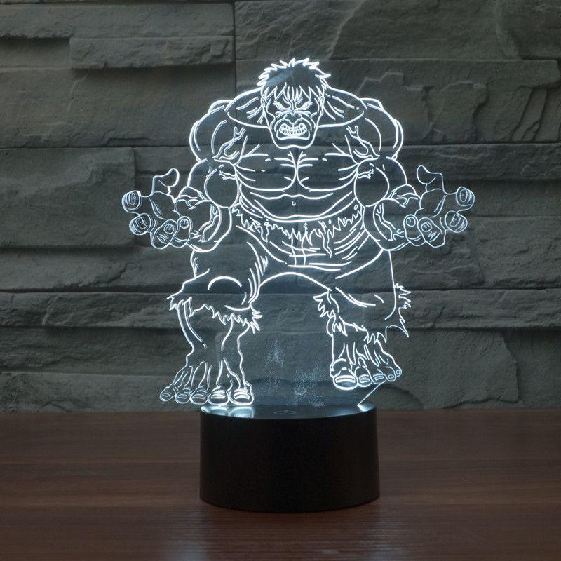 Avengers Alliance Toys Enthusiasts Hulk Lamp Colorful Led 3d Lampe ...