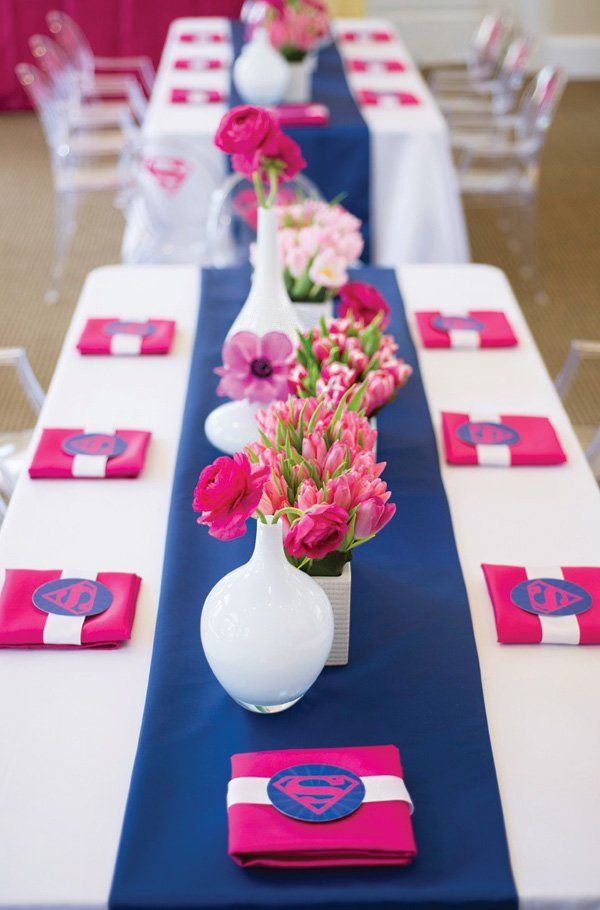 Fantastic Pink Blue Supergirl Birthday Party