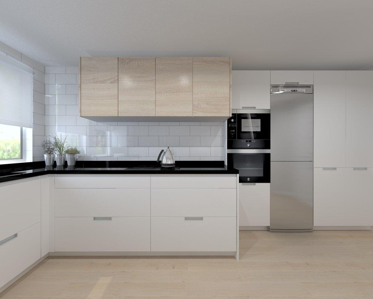 Cocina santos modelo line estratificado blanco con for Encimera cocina granito
