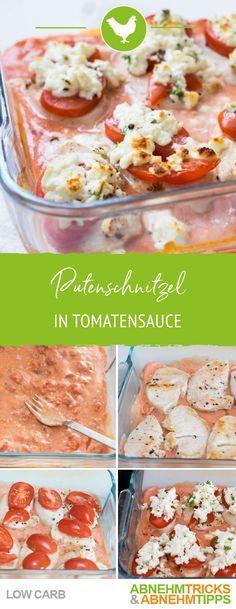 Succosa cotoletta di tacchino a basso contenuto di carboidrati smerlata in salsa di pomodoro
