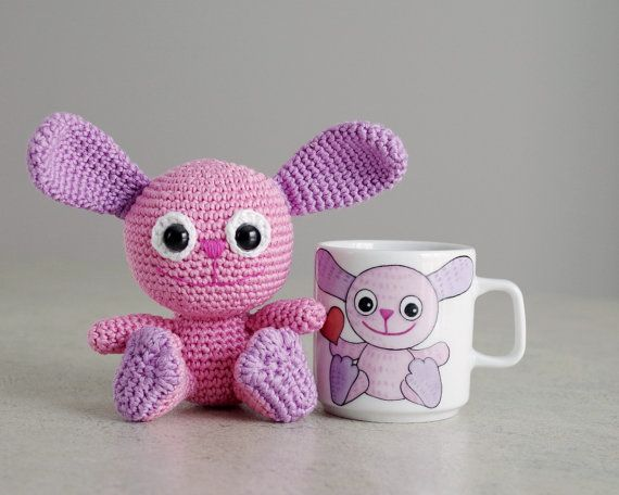 Bunny toy and mug set personalized hand by SmartappleCreations