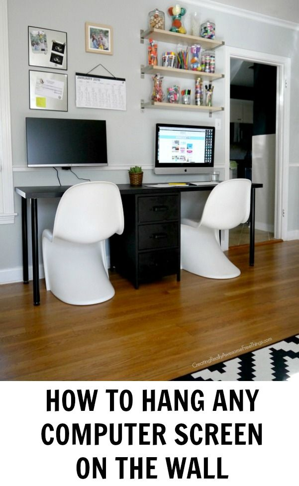 How To Hang Computer Screens C R A F T Wall Mounted Pc Home Office Design Computer Screen Wall Mount