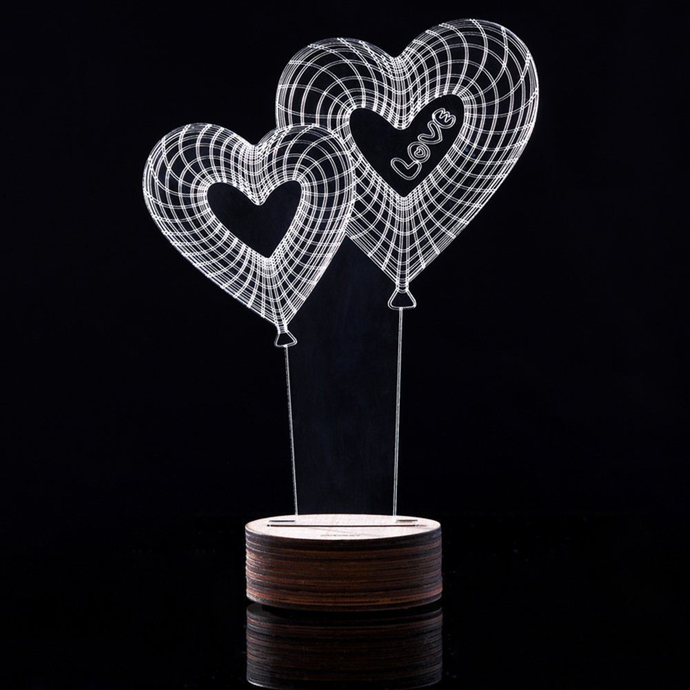 Sundlight Creative 3d Illusion Lamp Led Night Lights 3d Love Heart Acrylic Discoloration Colorful Atmosphe Nursery Night Light 3d Illusion Lamp Led Night Light