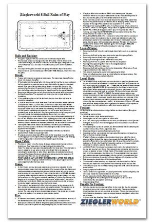 8 Ball Billiard Rules Amp Regulation Poster Laminated For
