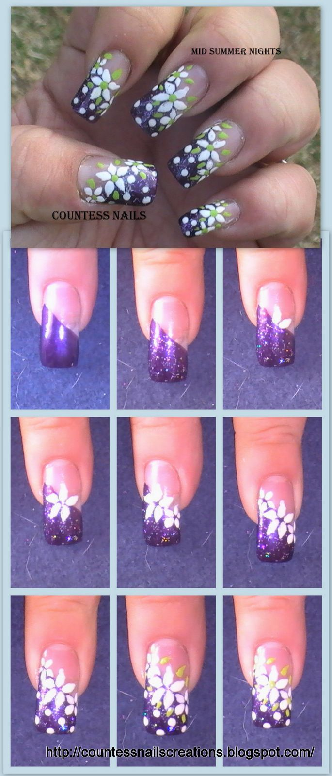 White flowers purple french nail art tutorial | UÑAS | Pinterest ...