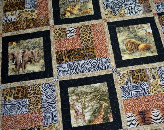 Patchwork Quilt Featuring African Safari by KimsQuiltingStudio ... : wildlife quilt fabric - Adamdwight.com