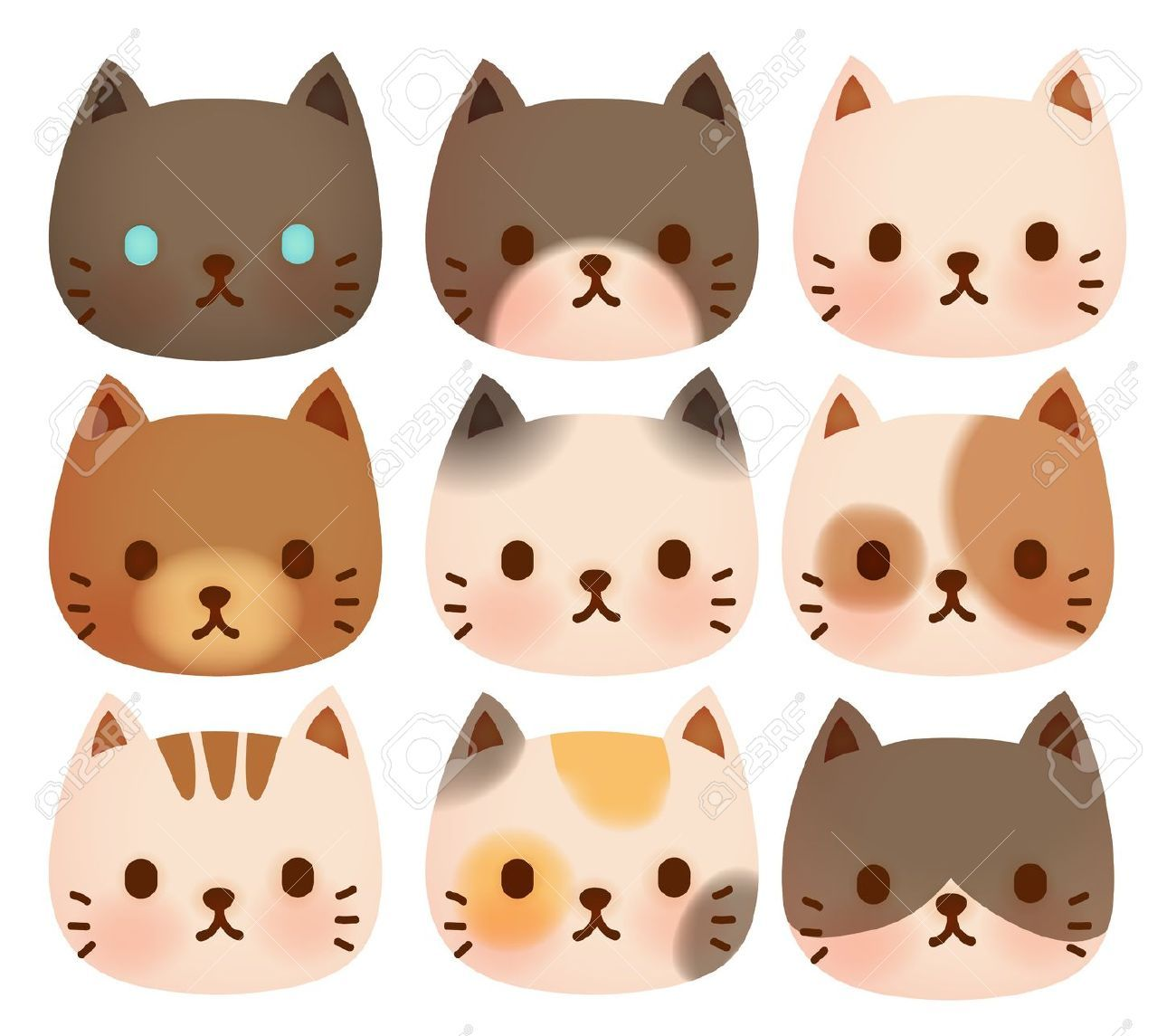 Cat Face Stock Vector Illustration And Royalty Free Cat Face Clipart Cat Face Drawing Cute Cat Face Cats Illustration