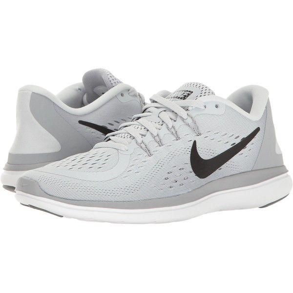 bbc1a2794ecf Nike Flex RN 2017 (Pure Platinum Black Wolf Grey Cool Grey) Womens... ( 85)  ❤ liked on Polyvore featuring shoes