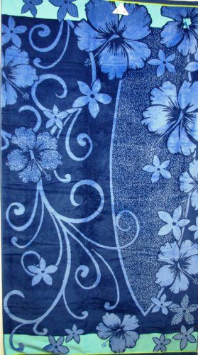 Luxury Oversized Beach Towels Navy Blue Floral Pattern 100