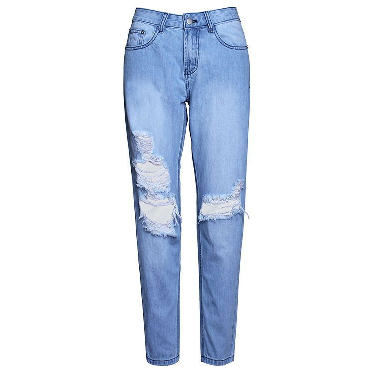 2017 New Women's Street Style Light Blue Wash Chic Distressed ...