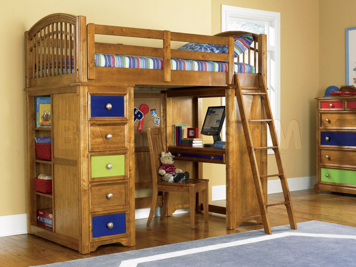 Jay furniture stair loft bed in cherry with desk kids black finish - Bunk Beds Bearrific Loft Drawer And Desk Bunk Bed Pulaski Furniture