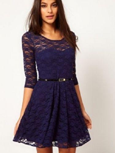 ac7e4b76b5c Special Lace stitching Dress (Blue