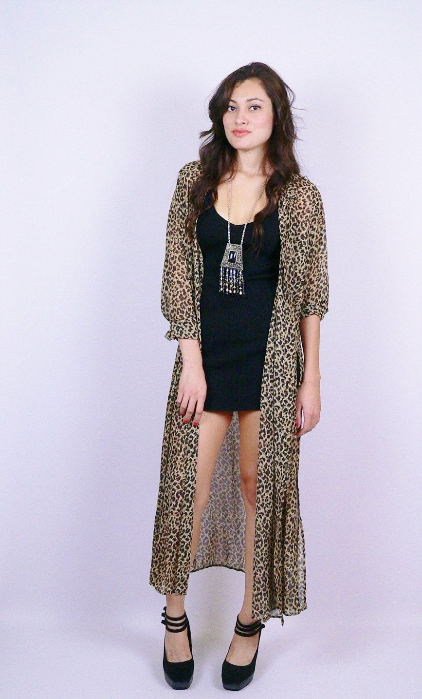 Sheer Leopard Print Duster Cardigan by StellarVintique on Etsy, $ ...
