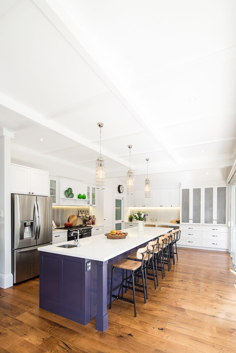 Modern Kitchen with a pop of colour // Galley Style // Woodstock ...