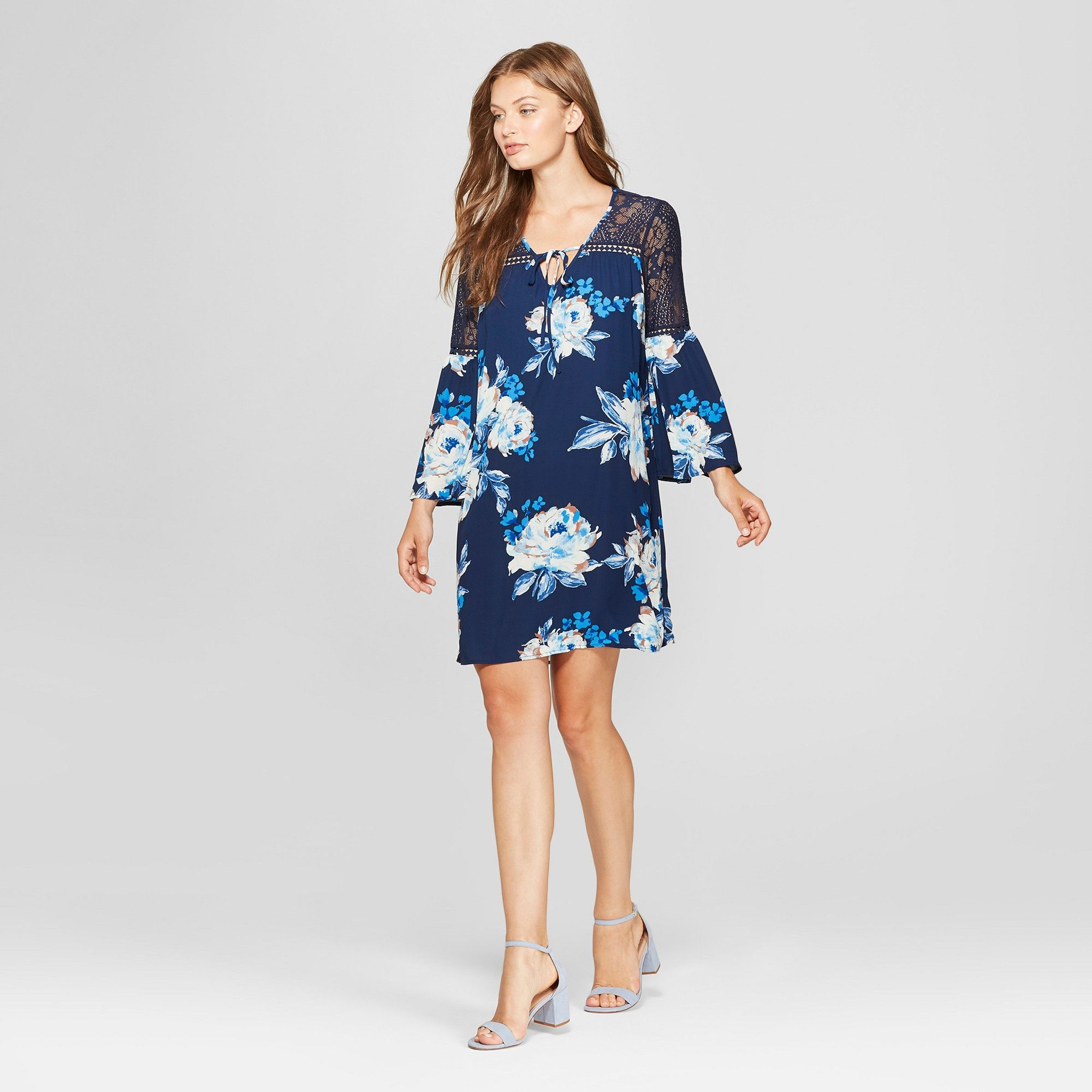 Women S 3 4 Sleeve Floral Print Lace Sleeve Shift Dress Lux Ii Navy 14 Blue Prom Dresses With Pockets Floral Cocktail Dress Shift Dress [ 2000 x 2000 Pixel ]