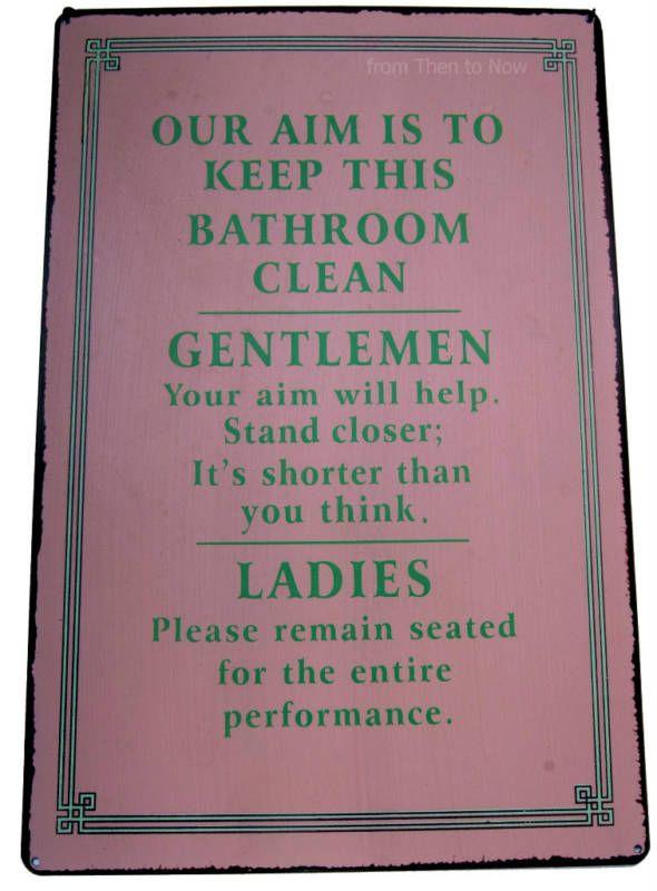 Bathroom Signs Keep Clean ladies & gentlemen keep bathroom clean fun retro sign | ebay- new
