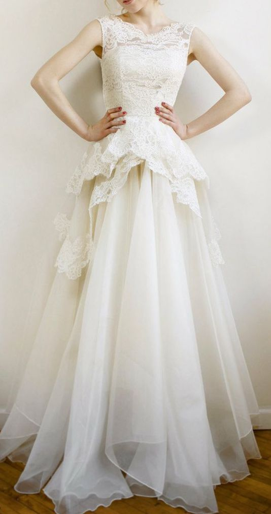 Mireille- Silk organza and French lace wedding gown