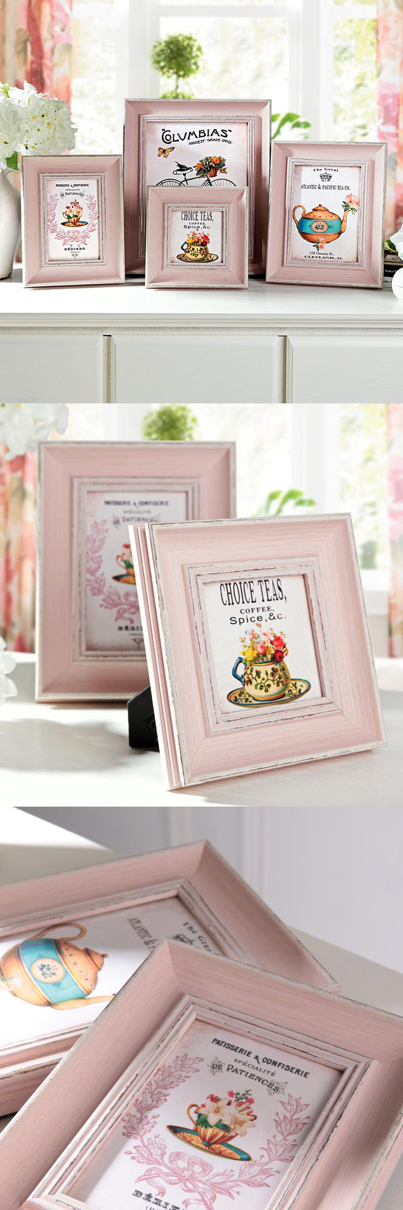 [Visit to Buy] New Pink Photo Frames for Picture Wedding,Vintage Picture Frames Wall,Mini Baby Photo Frame Desktop,Wooden Picture Frame Family #Advertisement