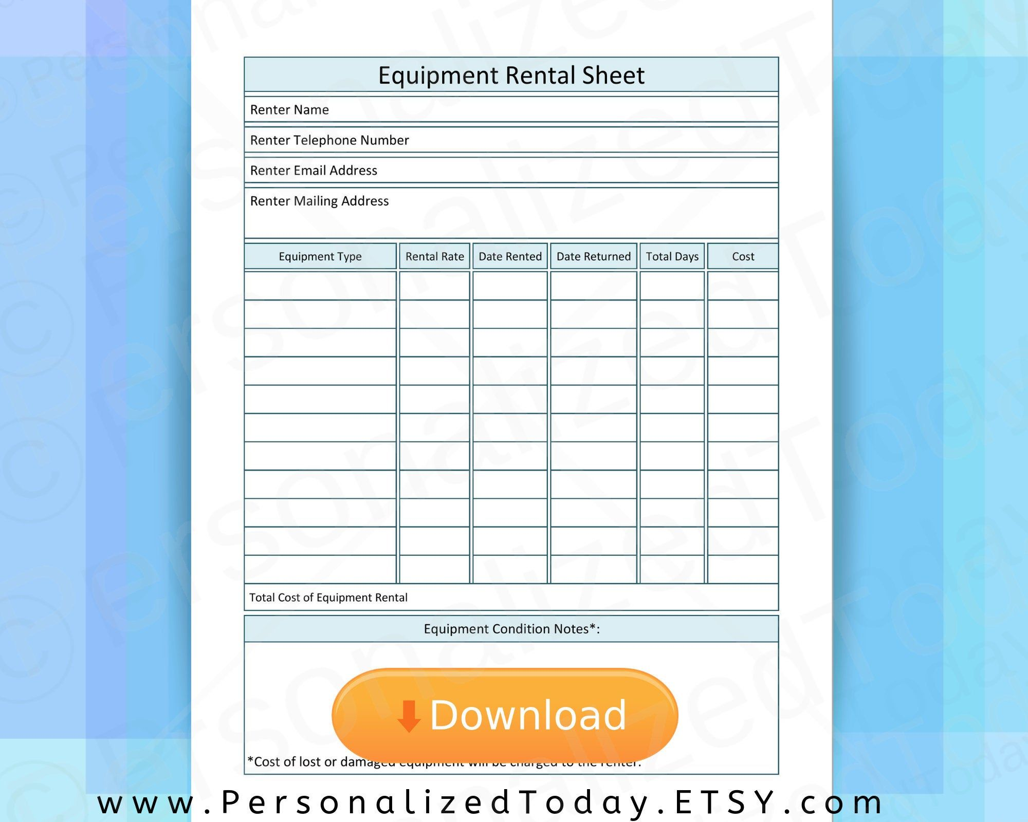 Equipment Rental Sheet Printable PDF Rate and Condition
