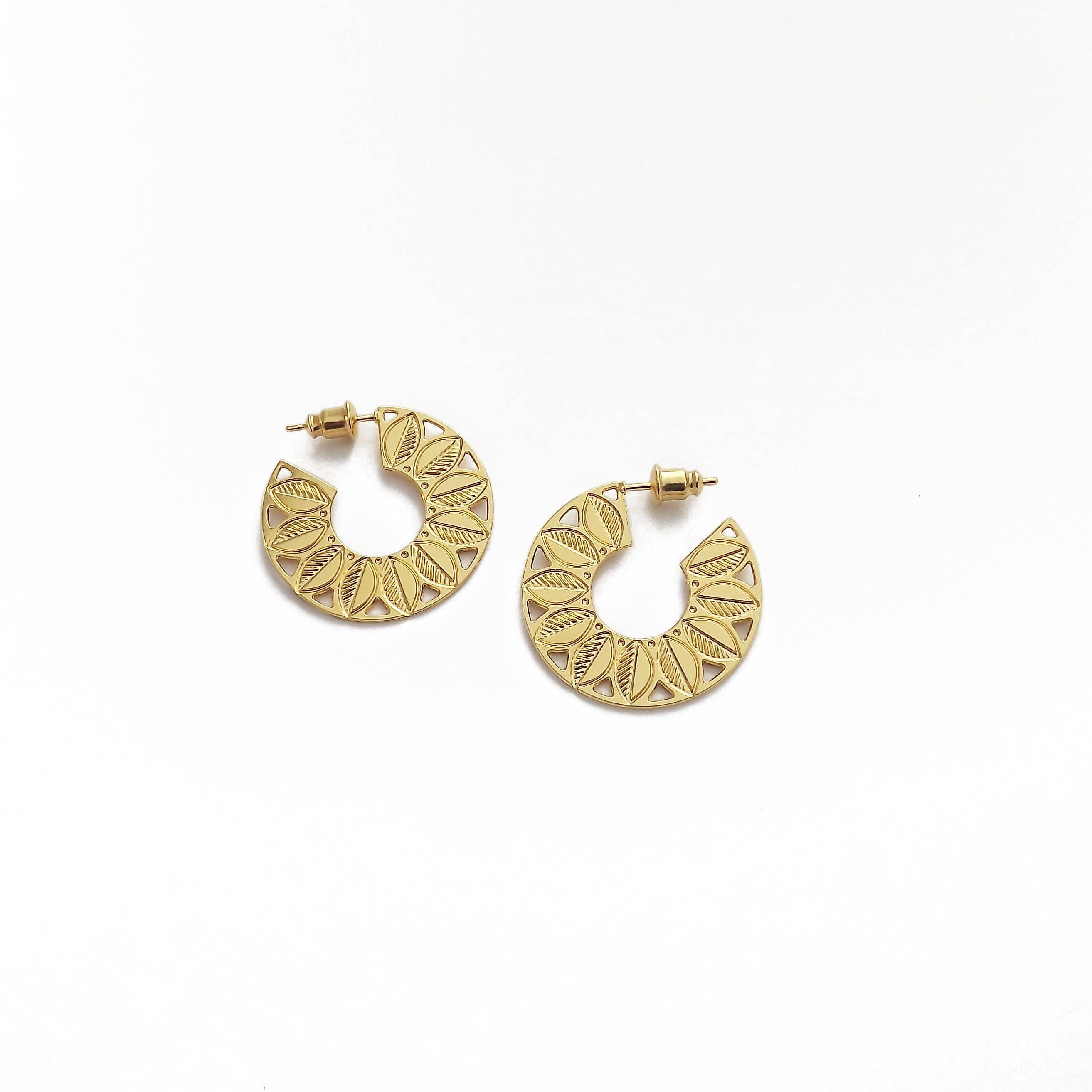 Canopy Hoop Earrings Gilded With Gold 24 Carat