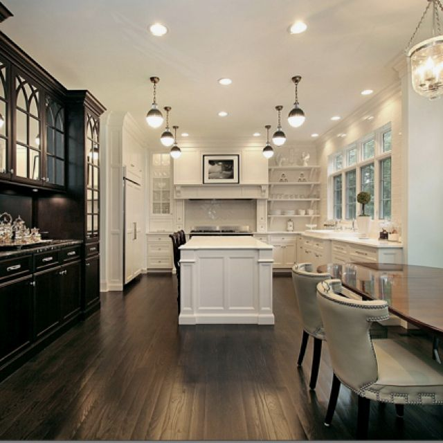 I like the 2 different color cabinets.   Kitchen   Pinterest   Cocinas