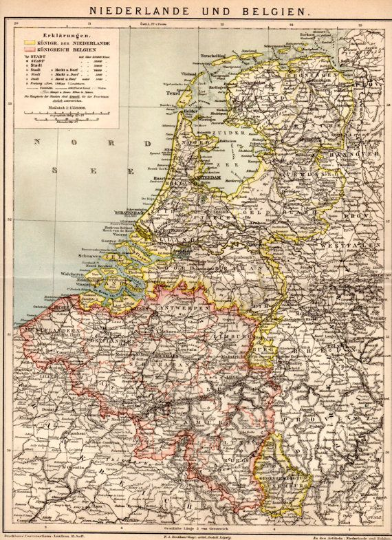 the netherlands and belgium 1885 antique map by craftissimo 1395